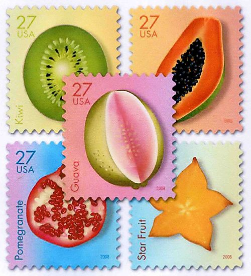 Fruit postage stamps